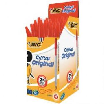 Bic Cristal Medium Ballpoint Pens - Red<br>Pack of 50